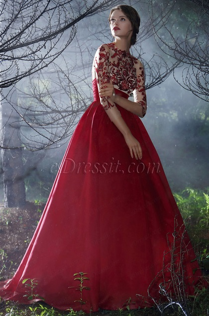 Red Long Sleeves Embroidery Prom Dress