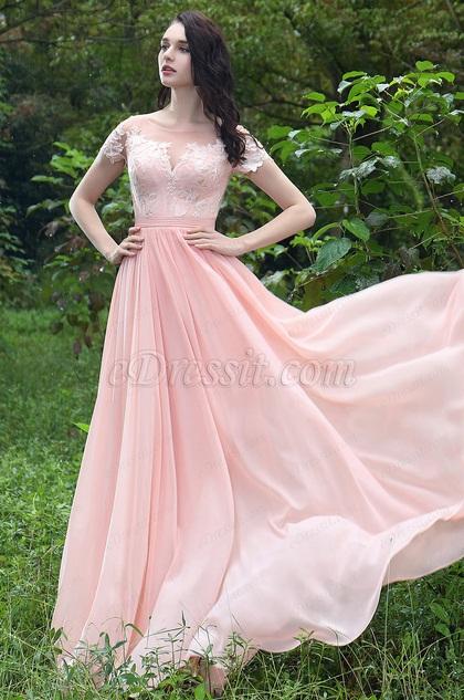 eDressit Pink Elegant Lace Prom Evening Dress (00171201)