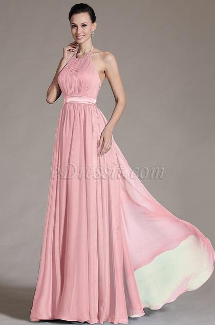eDressit Pink Halter Off Back Evening Dress (07156801)