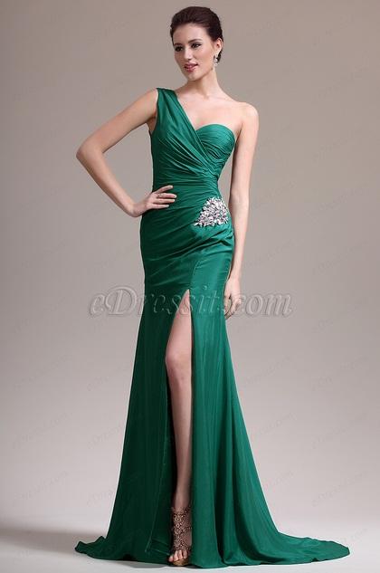 eDressit Green One Shoulder High Slit Evening Dress (07157104)