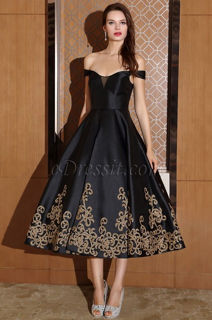 Black Off Shoulder Cocktail Party Dress with Sequin Lace