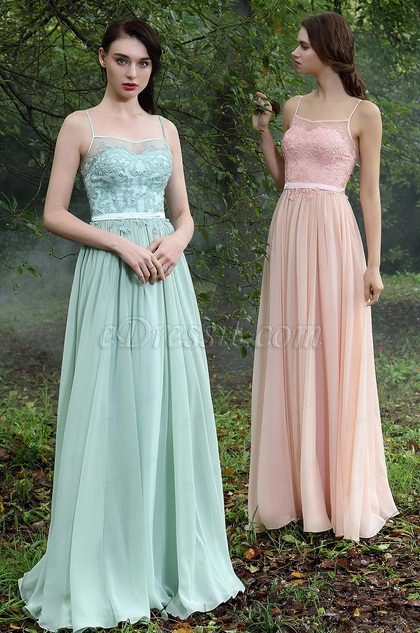 eDressit Green Spaghetti Straps Bridesmaid Dress (00171404)