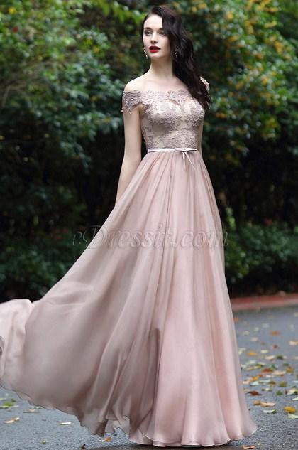 eDressit Blush Off Shoulder Lace Prom Dress (02171946)