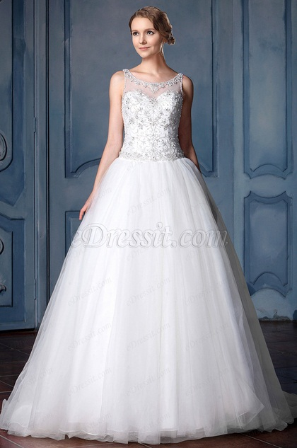 eDressit A-line Beaded Lace Tulle Wedding Dress (F02010006)
