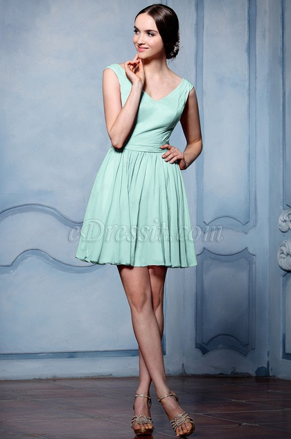 eDressit Simple Green V Cut Cocktail Party Dress (07156404)