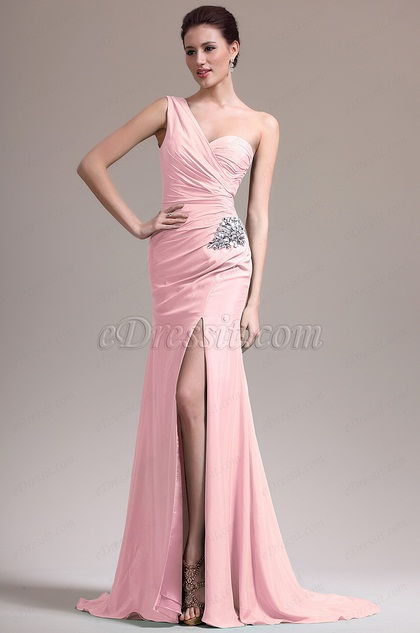 eDressit Pink One Shoulder High Slit Evening Dress (07157101)