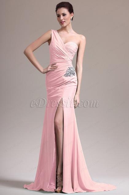 edressit robe demoiselle d 39 honneur fendue une bretelle rose 07157101. Black Bedroom Furniture Sets. Home Design Ideas