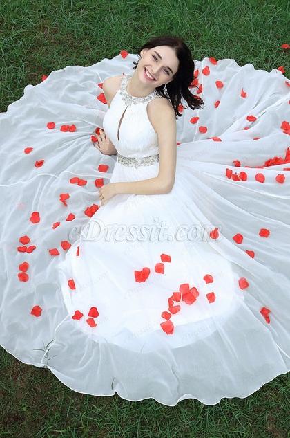 Charming Halter White Beaded Bridal Gown