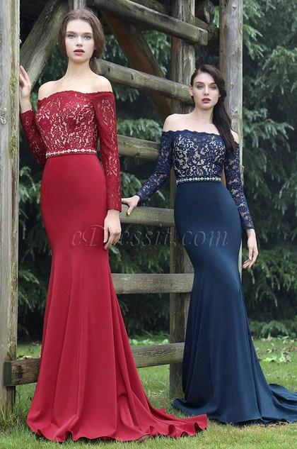 eDressit Long Sleeves Overlace Blue Prom Dress (26170505)
