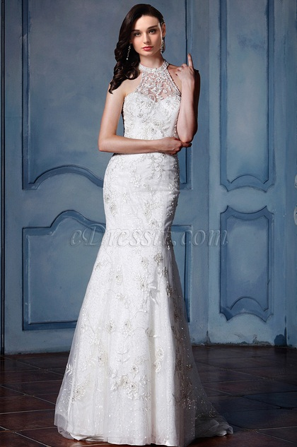 eDressit Halter Lace Tulle Mermaid Bridal Gown (F09010011)