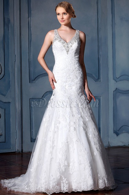 eDressit Sleeveless Beaded Lace Mermaid Bridal Gown (F02010065)
