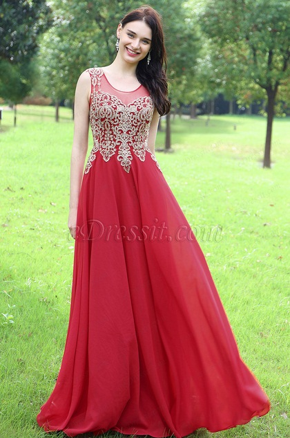 eDressit Elegant Red Beaded Prom Evening Dress (36170502)