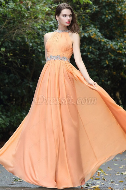eDressit Sexy Halter Orange Beaded Occasion Dress (00171110)