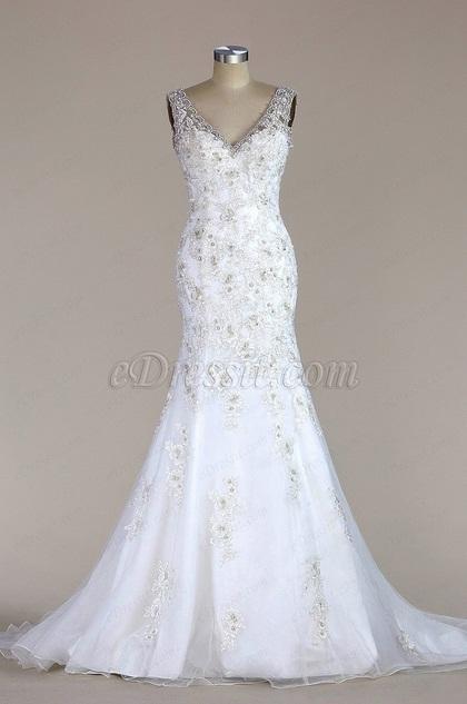 eDressit Sleeveless V Neck Lace Mermaid Wedding Dress(F02020219)