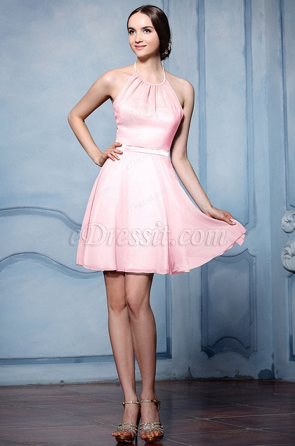 eDressit Pink Halter Cocktail Bridesmaid Dress (07156501)