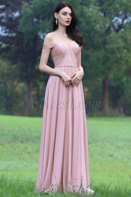 eDressit Pink Off Shoulder Bridesmaid Dress Formal Gown (00170601)