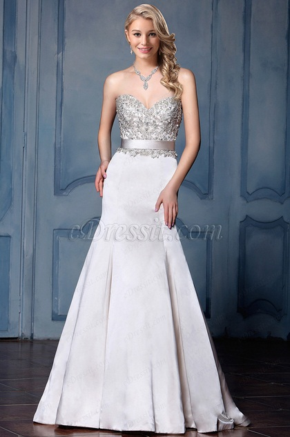 eDressit Strapless Beaded Mermaid Wedding Dress (F04014566)