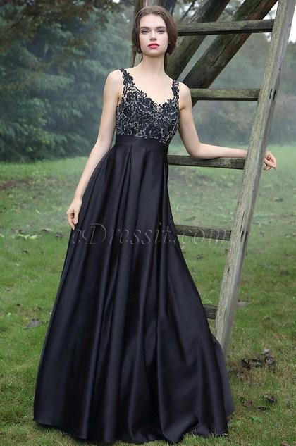 eDressit Black Embroidery Prom Ball Dress (36170800)