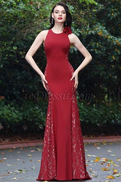 eDressit Burgundy Sleeveless Lace Prom Ball Gown (00170717)