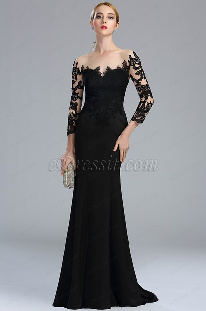 edressit black long sleeves lace evening gown 02164100. Black Bedroom Furniture Sets. Home Design Ideas