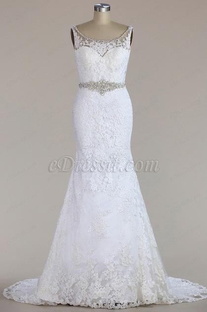 eDressit Sleeveless Beaded Lace Mermaid Wedding Dress (F02010003W)
