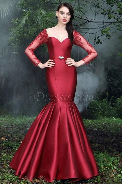 eDressit Vintage Red Pleated Mermaid Formal Gown (02170102)