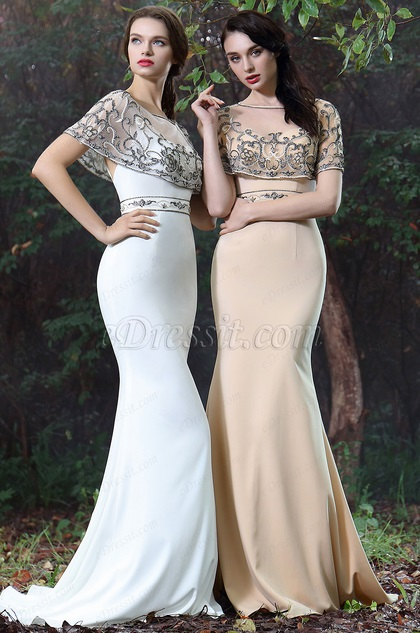 eDressit Beige Cape Embroidery Beaded Evening Gown (02171314)