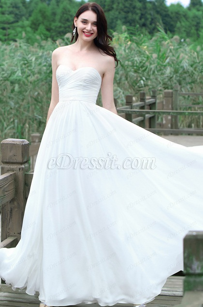 eDressit White Strapless Sweetheart Wedding Dress (01171307)