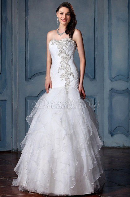eDressit Strapless Beaded Tulle Bridal Gown (F09040002)