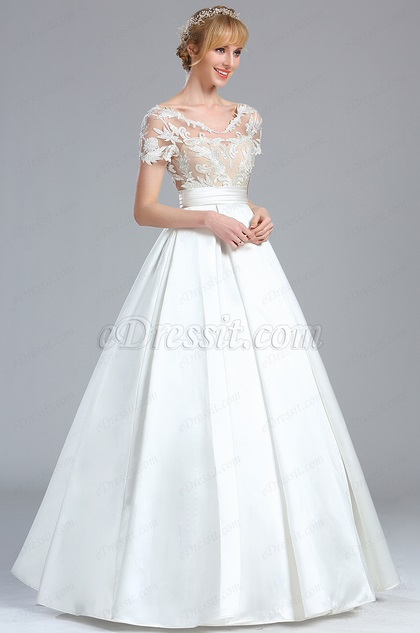 eDressit Short Sleeves Lace Applique Wedding Dress (01170707)