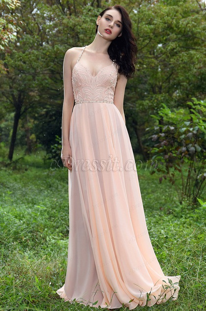 eDressit Pink Embroidery Spaghetti Straps Prom Ball Gown (00171301)
