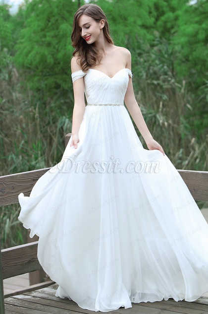 Sweet White Off Shoulder Wedding Dress