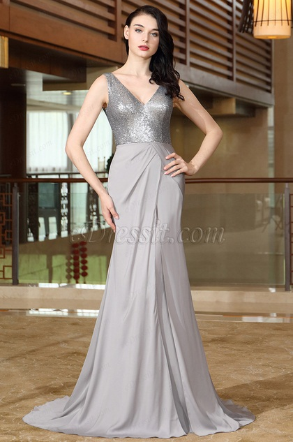 eDressit Grey Sequins Prom Evening Dress (00172008)
