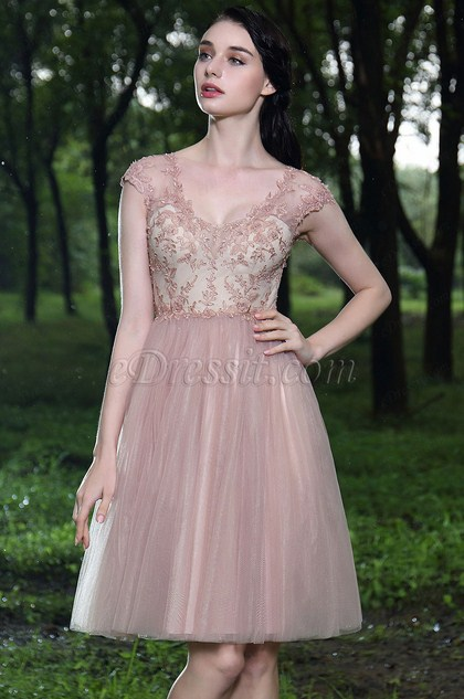 eDressit Pink Beaded Lace Cocktail Party Dress (04170701)