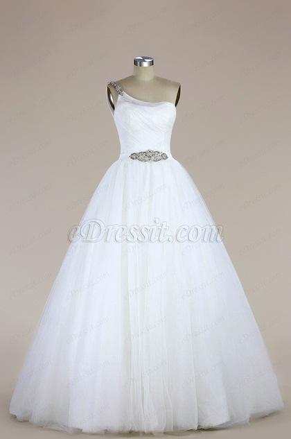 eDressit One Shoulder Tulle Mermaid Wedding Dress (F02000200)