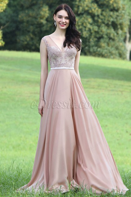Blush Sexy Prom Dress with Lace and Beads