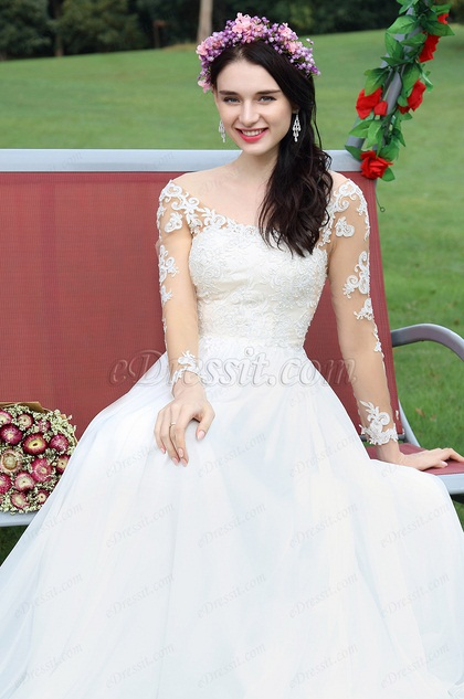 Long Sleeves Lace Beaded Bridal Dress