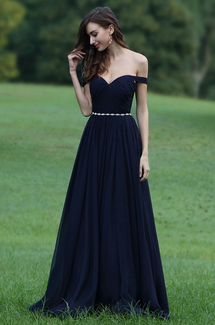 eDressit Off Shoulder Dark Blue Dress with Crystal Chain (00170605)