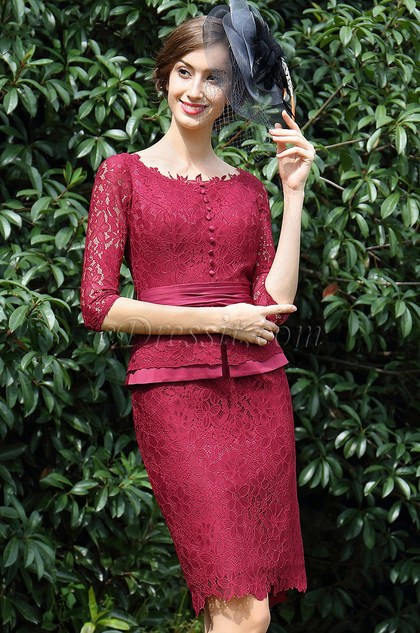 eDressit Burgundy Lace Mother of the Bride Women's Dress (26170817)