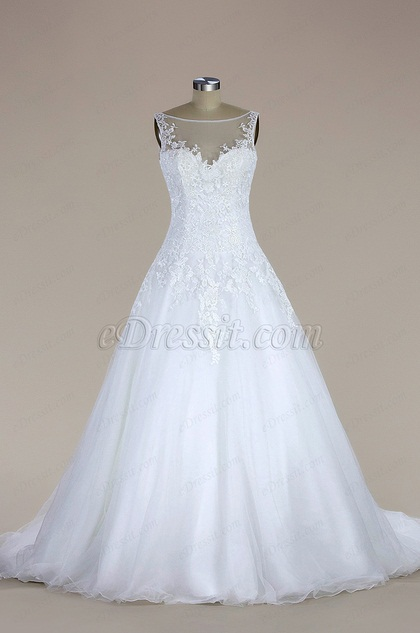 eDressit Sleeveless Lace and Tulle Mermaid Wedding Dress (F02020183W)