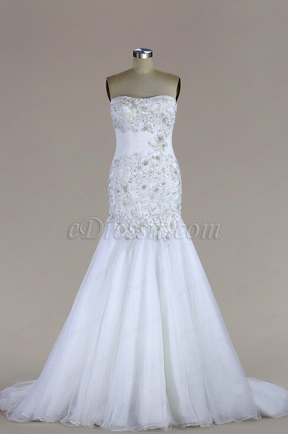 eDressit Strapless Beaded Tulle Mermaid Wedding Dress (F02020220)