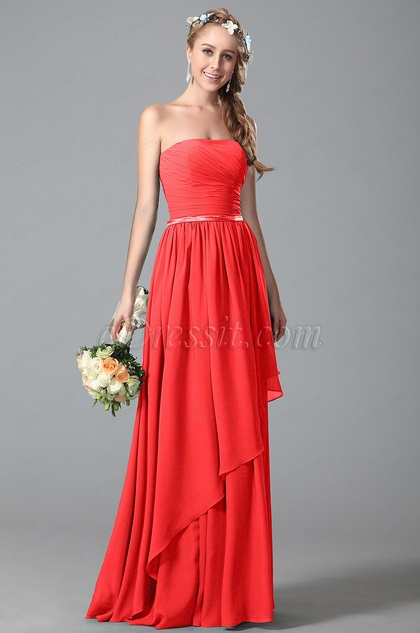 Strapless Red Bridesmaid Dress With Asymmetric Hem