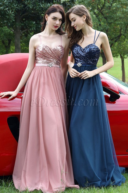 eDressit Blue Spaghetti Straps Sequins Bridesmaid Dress (07170305)