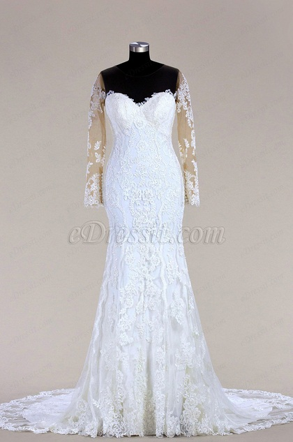 eDressit Long Sleeves Lace Mermaid Bridal Dress (F09618089)