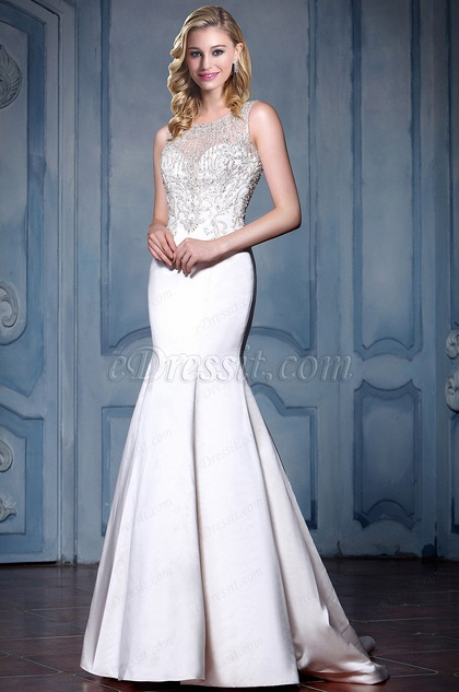 eDressit Strapless Beaded Mermaid Wedding Dress (F04041473)