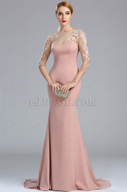 eDressit Blush Long Sleeves Lace Appliques Mermaid Prom Dress (02173646)