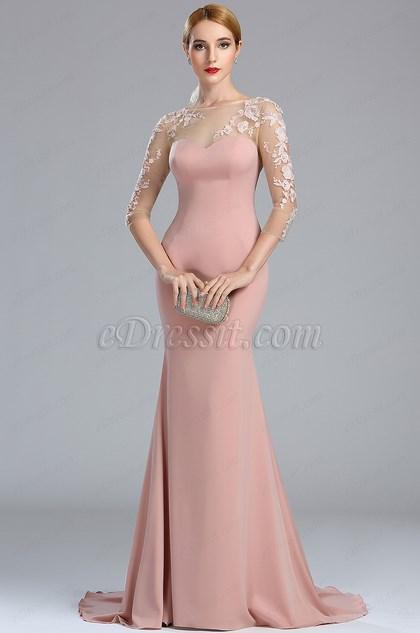 eDressit Blush Long Sleeves Lace Appliques Mermaid Prom Dress (02173646)