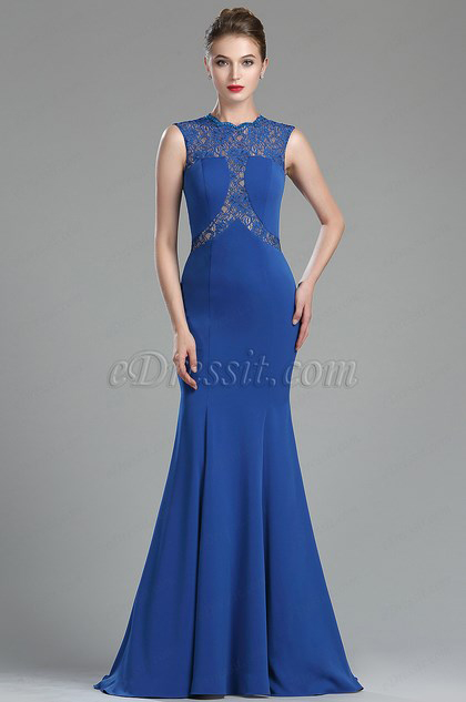 eDressit Royal Blue Beaded Lace Mermaid Style Prom Dress (00174605)