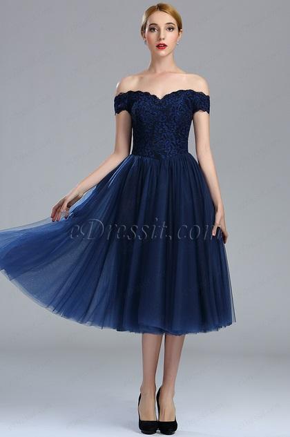 eDressit Off Shoulder Blue Lace Cocktail Party Dress (04173105)