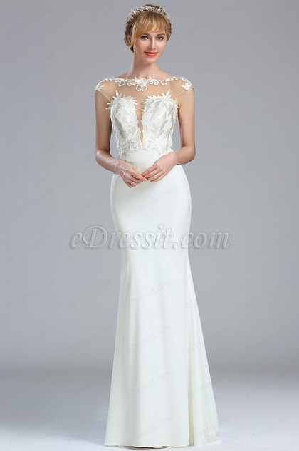Cap Sleeves White Lace Appliques Wedding Dress